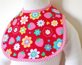 Handmade red and pink baby girl bib STRAWBERRIES POP - Size small