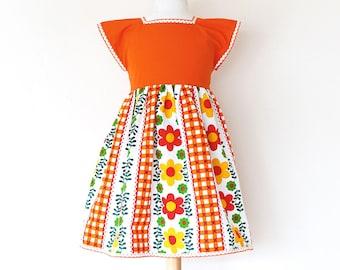 PICNIC girls dress, spring retro dress, toddler dress, floral dress, upcycled dress with vintage fabric, little girl dress, cap sleeve dress