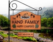 New Shape Large RV Camping  Sign - Custom Carved Colored Campfire Pine Trees w/ one add on sign - Includes Round Garden Holder