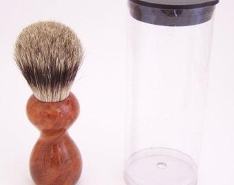 Paela Burl Wood 16mm Silvertip Badger Travel Brush  (Handmade in USA) P1 -  Executive Gift - 5th Anniversary - Wood Shaving Brush