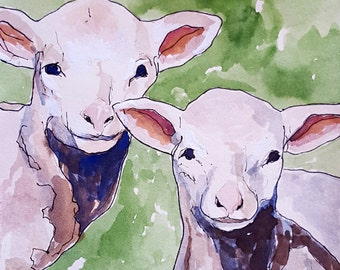 Two lambs Print of original watercolor painting 8.5 x 11 paper size Two sheep Baby sheep Baby lambs art lamb print lamb art sheep art