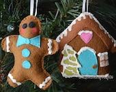 Felt Gingerbread Man and House Ornament set