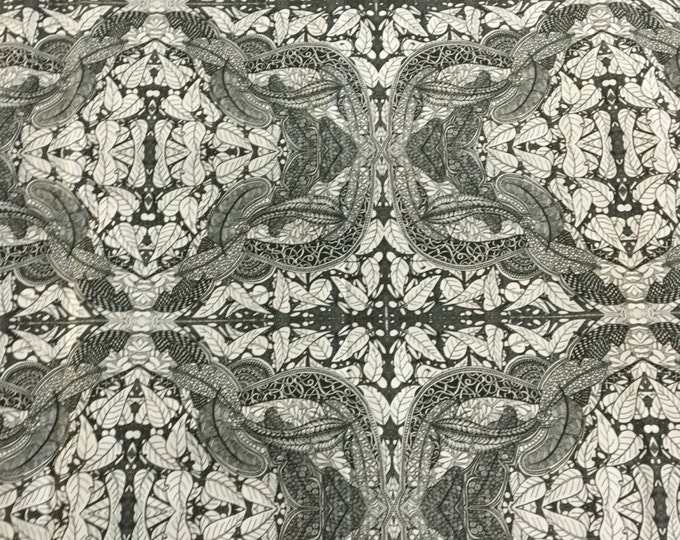 Original black and white Fabric with leaves and feathers by Cindy Watkins  cotton
