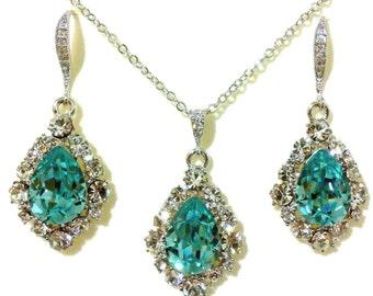 Something Blue Wedding Jewelry, Turquoise Bridal Earrings, Swarovski Crystal Teardrop Wedding Necklace, Bridal Jewelry Gift for Her, BIJOUX