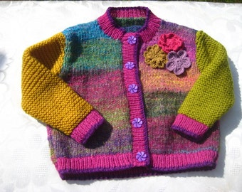 Hand knit pure wool and silk mix little girl's cardigan, sweater, 2 to 4 years