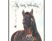 Handmade Valentine's Day Horse Greeting Card