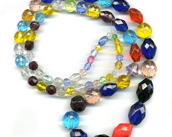 """Vintage Glass & Crystal Bead Mix Colorful Lot of Shapes and Colors 30"""" Strand"""