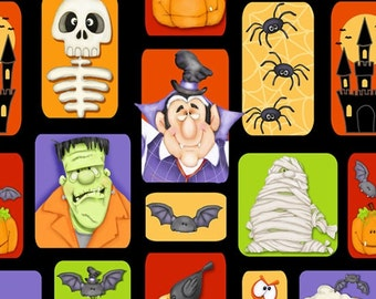 The Count Halloween Blocks ~ Henry Glass cotton woven fabric by the yard sewing quilting HG-16004