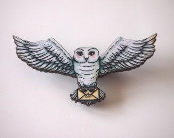 Hedwig - Harry Potter - Laser Cut Wood Brooch