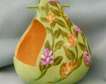 Hand Painted Green Bird Feeder Gourd Floral