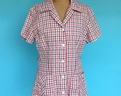 Vintage 40s Seersucker Blouse Jacket Check Fabric S/M Bust 36