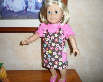 """Doll Dress for American Girl Doll or 18"""" doll  Bitty Baby Brown Floral with Pocket Purse"""
