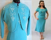 1950s turquoise dress with grapes, rhinestones, soutache and matching bolero