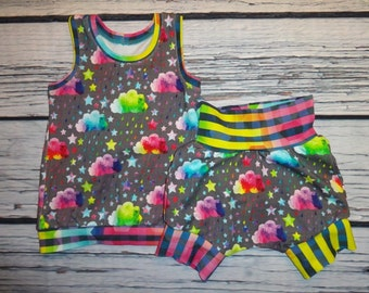Toddler 3T Tank and Shorts Set in Rainbow Clouds and Stripes by Soothe Baby