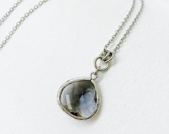 Smoky Grey - Tear Drop - Crystal Glass Silver Long Necklace