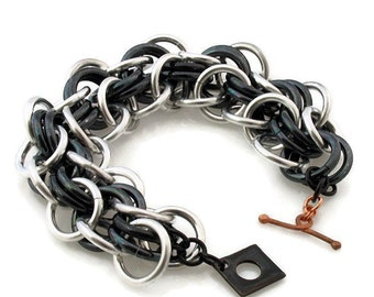 Chunky Chain Link Bracelet Iridescent Gunmetal and Silver
