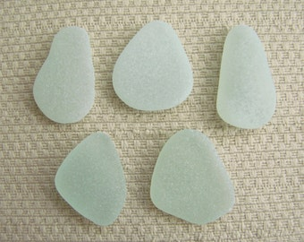5 Large Pendant size Sea glass Gems (SG1917) Ovals and Tear Drops, Pastel Seafoam Blue Green Mediterranean Sea glass, Beach Glass
