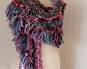 Scarf Wrap  Hand Spun Hand Knit  chunky bulky knit purple pink muted green eggplant  merino blend