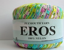 pastel mini ladder yarn . candy mints . plymouth eros italian ribbon railroad novelty jewelry yarn . 165yds . turquoise yellow pink white