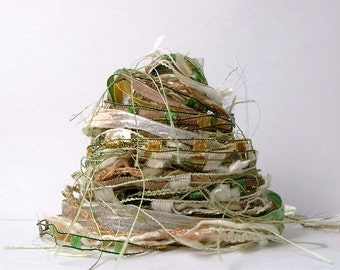 matcha fiber effects™  12yd specialty fiber art yarn bundle . green tea cream . mixed novelty yarn pack . textile ribbon embellishment trim