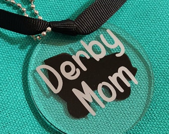 Derby Mom or Derby Dad Acrylic Keyring in Silver and Black, parents, junior derby, gift