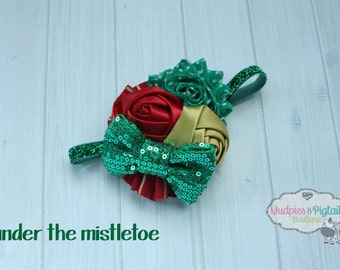 Holiday Baby headband { Under the Mistletoe } red, green gold Christmas Tree, Holiday Winter, first birthday onderland photography prop