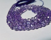 AAA Amethyst Gemstone Faceted Rondelles, 4mm to 4.5mm Semi Precious Gemstone. Select: 2 to 13 inch  (ham1)