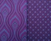 Fat Quarter Bundle - 2 Deep Purple Shweshwe cotton prints for patchwork projects