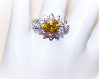 Vintage STERLING SILVER & 2.35CT TW Canary Yellow/White Rhinestone Fashion Ring