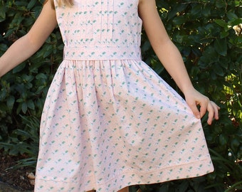 GIRLS DRESS PATTERN, The Penelope Pin Tuck Dress, instant digital download, detail instructions with illustrations, girls sizes 2-8