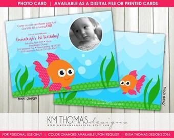 Goldfish Birthday Invitation : Printable Fish Party Invitation - Girl Fish Birthday Invitation - Underwater Invitation - BD139