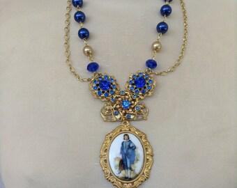 Blue Boy assemblage statement necklace
