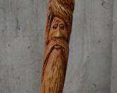 Cherry Walking Stick, Wood Spirit Walking Stick Carving, Hand Carved Wizard Staff, Mountain Man Wood Carvers of Etsy, 1371