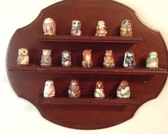 Sale  15 Collectible thimbles with shelf, Friends of the Forest thimbles set by Franklin Porcelain, vintage thimbles