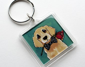 Golden Retreiver Dog with Rose | I'm Sorry | Whimsical Art Keyring Keychain | Dog Lover Gifts