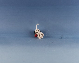 Miniature Handmade furred Dalmatian Puppy Dog, Dollhouse Baby Nursery Toy, Ooak, Artist Doll, Cheryl Brown