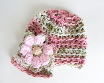 Crochet Newsboy Cap with Flower 6 Months - Baby Hat