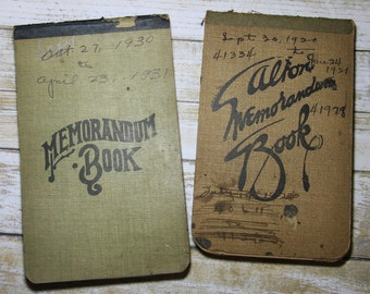 Vintage MEMO BOOKS- Account LEDGER Books with Script Handwriting- 1920- 1930 Pen & Ink