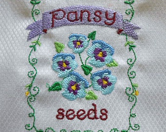 Electric BLUE PANSY Tea Towel Purple Seed Packet Vibrant Embroidery Colors, Green Scroll Border, Sparkling White Egyptian Cotton Gardener