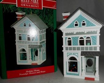 1990 Hallmark Christmas Ornament Nostalgic Houses and Shops Series Holiday Home 7