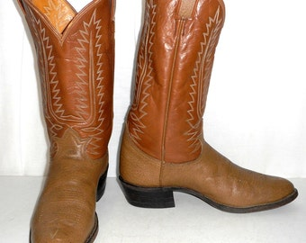 Vintage Tan Brown Tony Lama Cowboy Boots mens size 10 D / womens 11.5 Two Tone