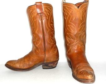 Vintage Distressed Tony Lama Tan Cowboy Boots Mens size 10 D Folk Western Boho Indie