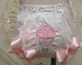 Hot air balloon diaper cover bloomer - Pink and aqua - Matches Tickle Pants hot air balloon birthday outfits