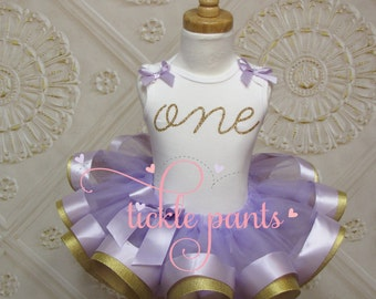 ORDER FOR REBECCA: Baby girls 1st Birthday Outfit - One - Lavender purple and gold glitter- Includes top and ruffled tutu