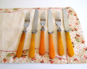 Vintage Mid Century Forks and Knifes Flatware, Set of Three,Plastic Handles, ButterscotchHandles