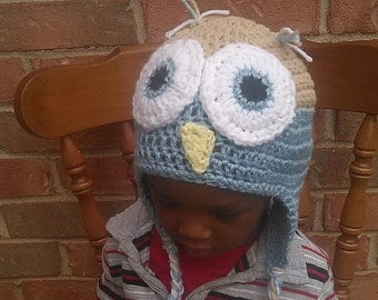 Blue and Beige owl earflap hat. TODDLER SIZE