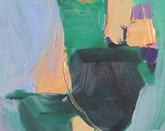 abstract - impasto - green - blue -  gold -  organic shapes - thick paint - abstract expressionist - colorful painting - artist Linda Hunt