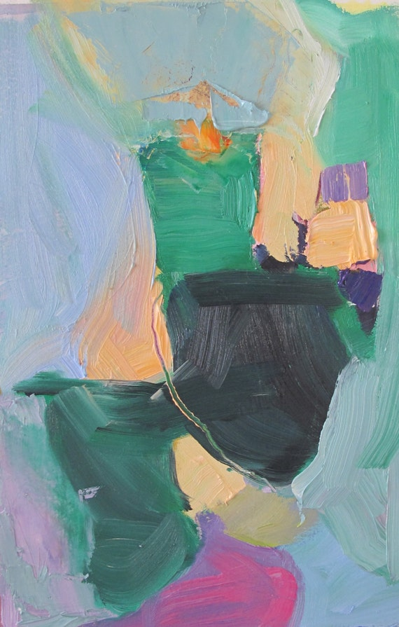 Glow....abstract, impasto, green, blue, gold, shapes