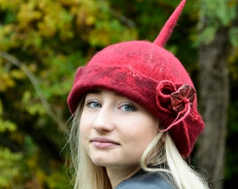 Pixie felt hat Handmade Felt hats A Unique Felt Hats Felted hats millinery hat felt Hat.