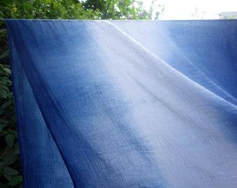 "Cotton Gauze Fabric Indigo Ombre Blue White Hand Dyed Scarf Wrap Home Decor Natural Plant Dye Lightweight Indigo Gauze Fabric 27"" x 84"""